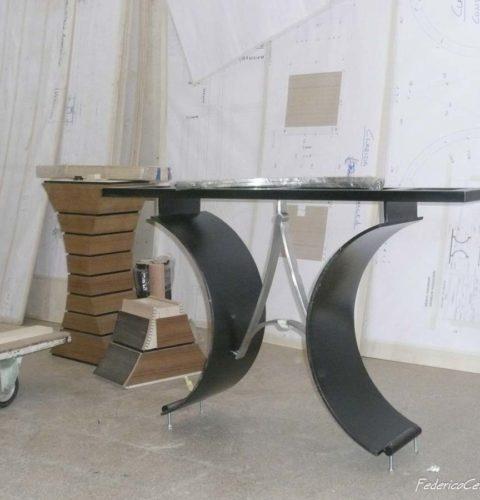 Consolle AC Ebano marmo nero e travertino Iran-2