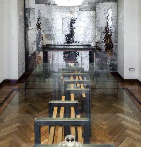 Tavolo Eva acciaio e vetro-5