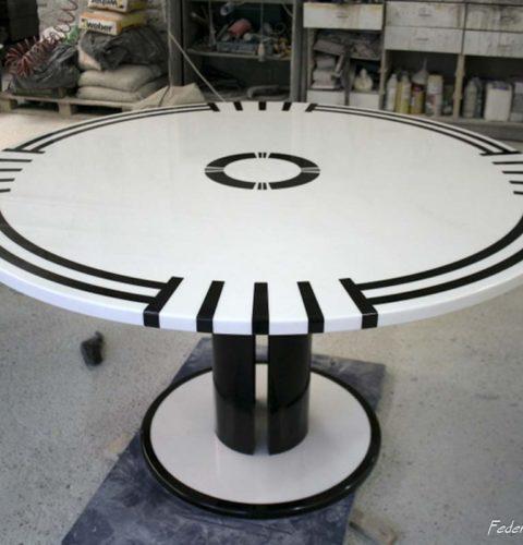 Tavolo tondo marmo biano nero-4