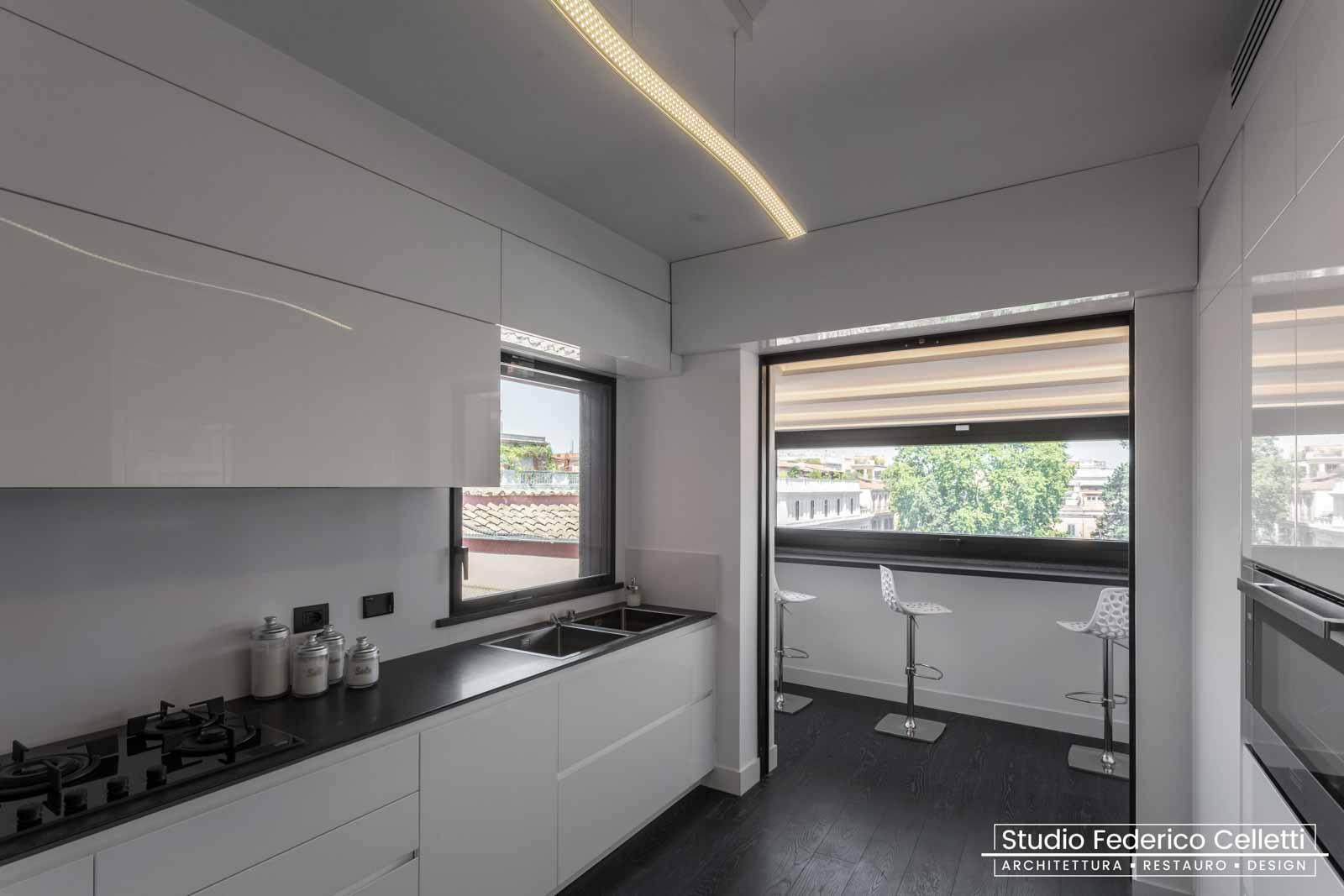 Cucina Attico A+C Dopo dei lavori di Restauro e Interior Design 01