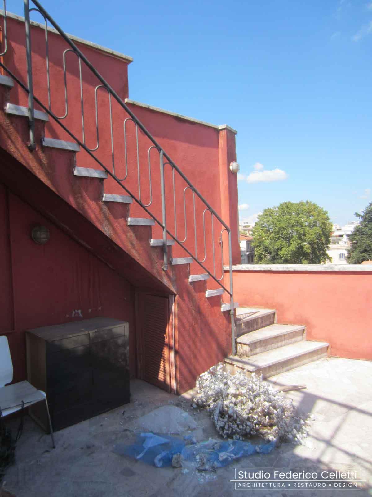 Terrazzo Attico A+C Prima dei lavori di Restauro e Interior Design 01