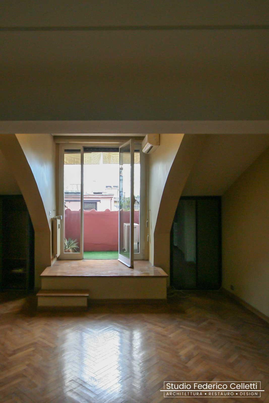 Camera Padronale Attico A+C Prima dei lavori di Restauro e Interior Design 01