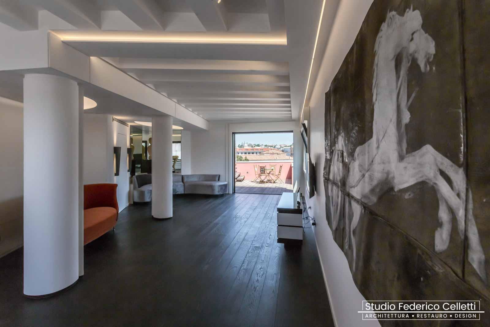 Salone Attico A+C Dopo dei lavori di Restauro e Interior Design 01