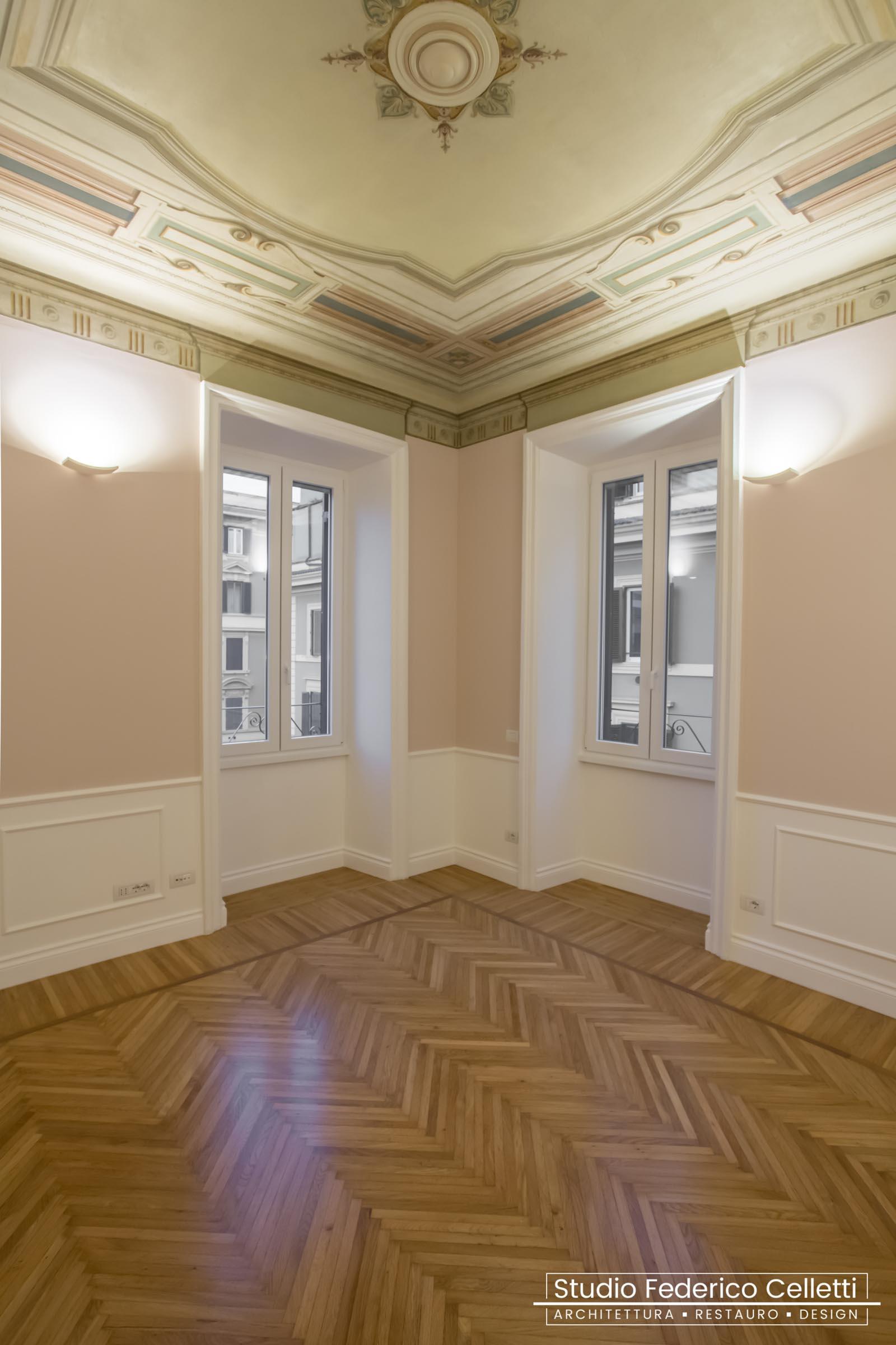 Soffitto Dipinto casa N Dopo i lavori di Restauro e Interior Design