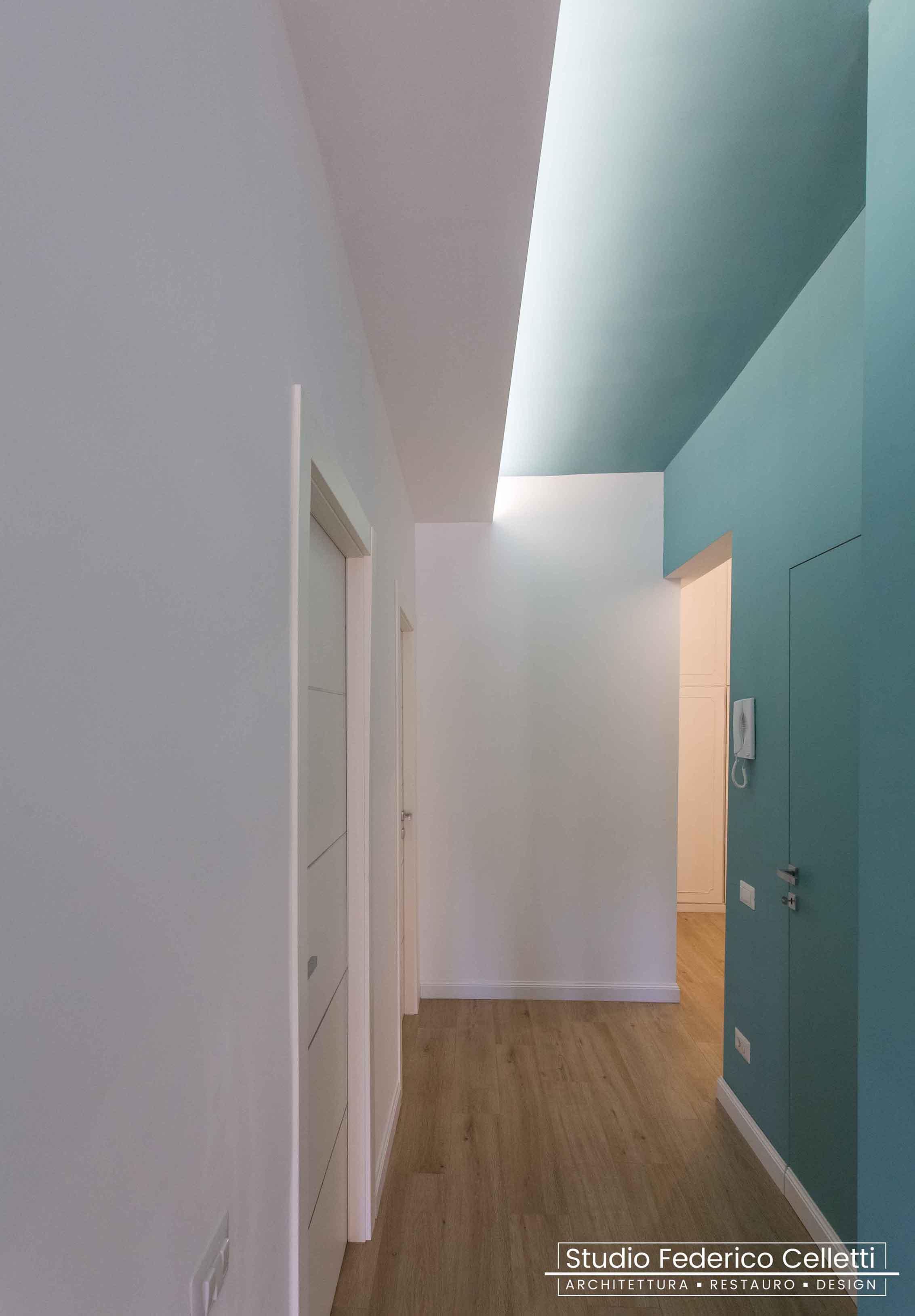 Corridoio Penguin House Dopo i lavori di Restauro e Interior Design